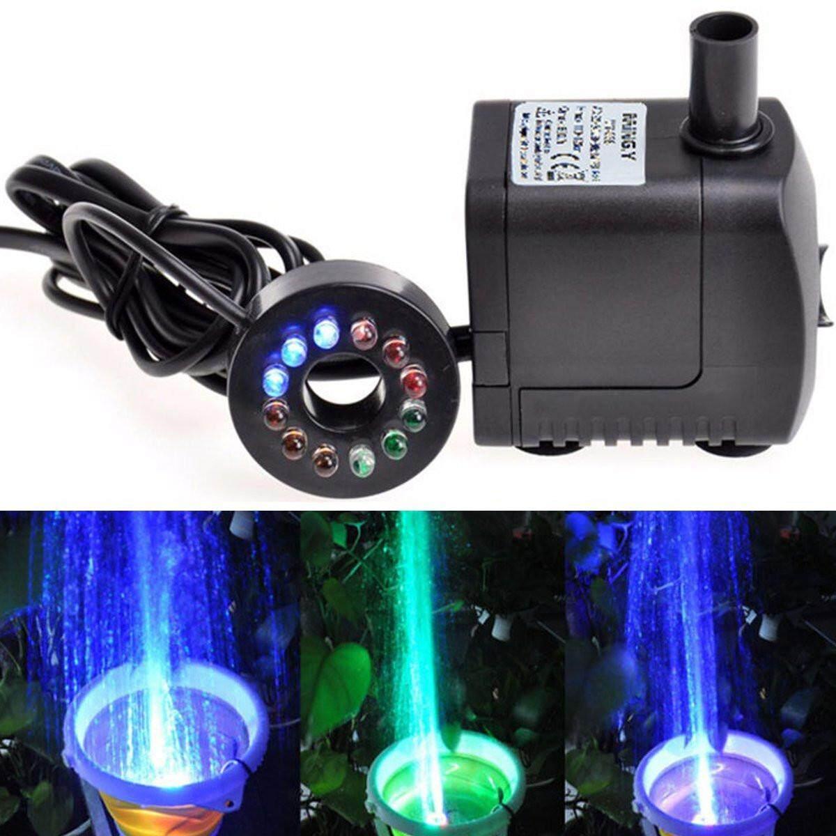 420L/H Submersible น้ำพุตั้งโต๊ะ Aquarium เครื่องสูบน้ำสระ LED เปลี่ยน