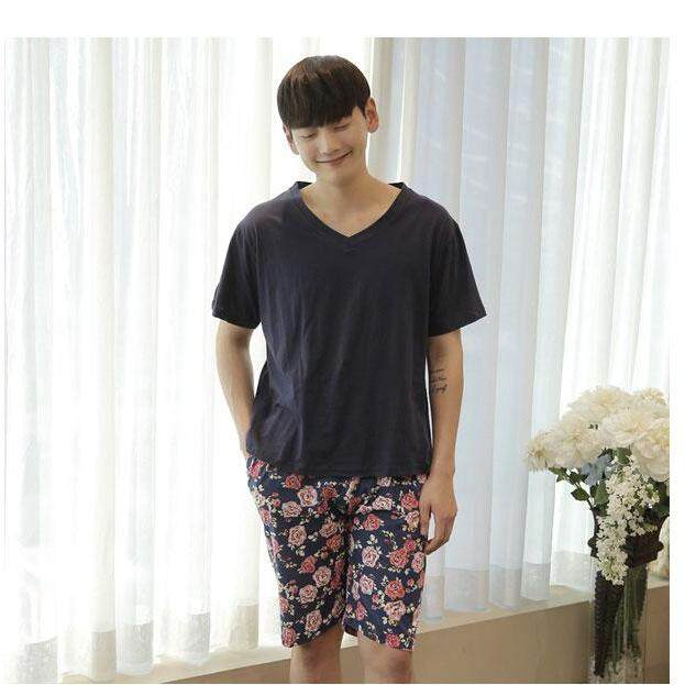 【SIMPLE & NICE】Korean Lovely Couple Mens & Women Rose Design Premium Quality Silk Casual Wear Pyjamas (Shirt & Pants)