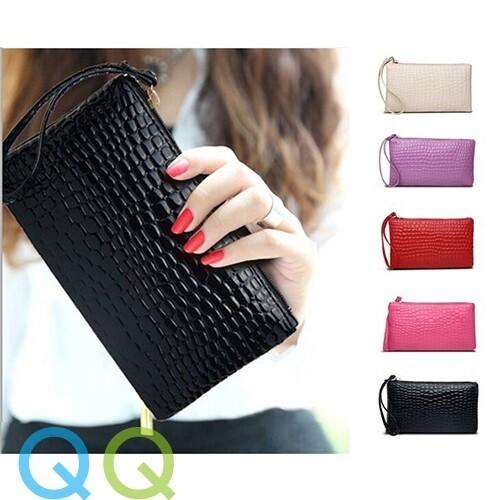 READY STOCK QQ HandPhone Hand Bag Phone Coin Pouch Makeup PU Leather Waterproof Card IC wallet Zipper Purses