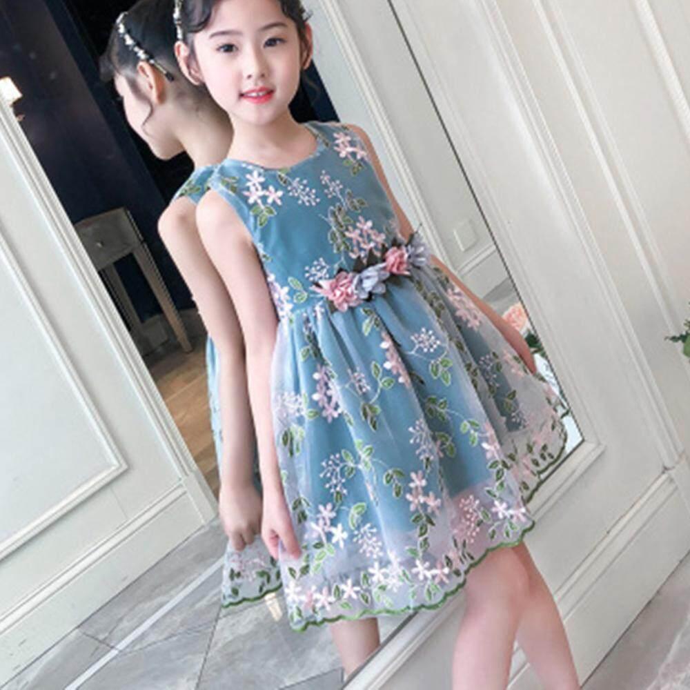 [[Tbytgyth]] Cho Bé Gái Mùa Hè Thêu In Hình Công Chúa Váy Ngủ Quần Áo Trẻ Em