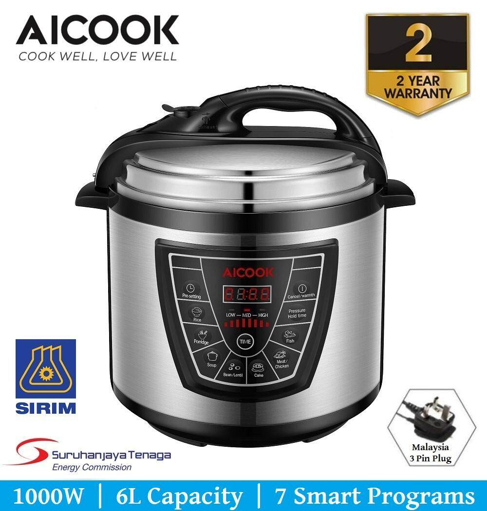 Aicook 7 in 1 Programmable Pressure Cooker With Non Stick Inner Pot 6.0L 1000W Rice Cooker Multi Cooker - 2 Years Warranty