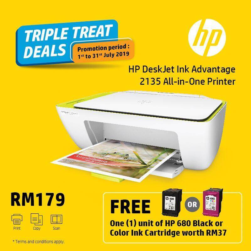 HP Deskjet Ink Advantage 2135 AIO Printer (F5S29B) - White [FREE] 1 Unit HP 680 Black or Color Ink Cartridge worth RM37*