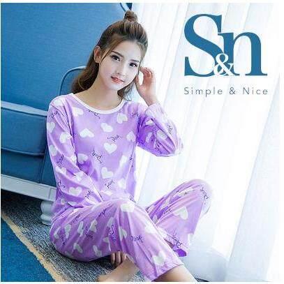 【SIMPLE & NICE】Korean Fashionista Women Love Design Long Sleeve Long Pants Pyjamas (Size: M-XXL)
