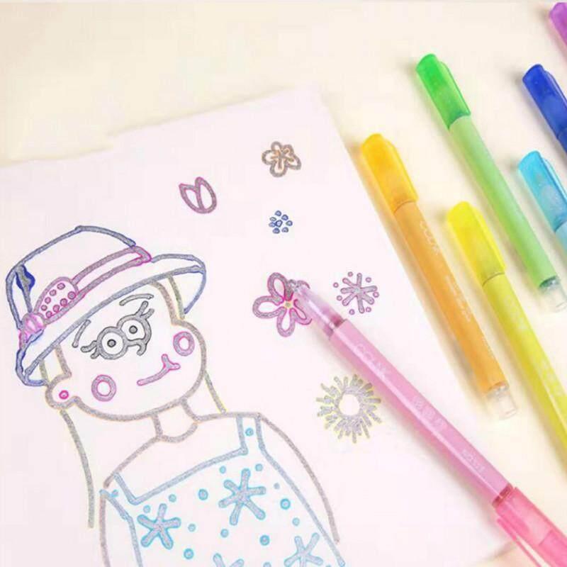 8 Màu Thẻ Viết Vẽ Dây Chuyền Đôi Phác Thảo Bút 2 Dòng Màu Bộ
