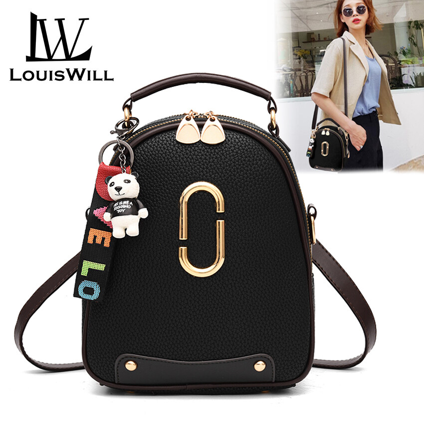 พิจิตร LouisWill Fashion Backpacks Women Shoulder Bags Waterproof Bags Top Handle Bags PU Shoulder Backpacks Travel School Bags Detachable Strap Casual Office Bags with Free Ornament for Women