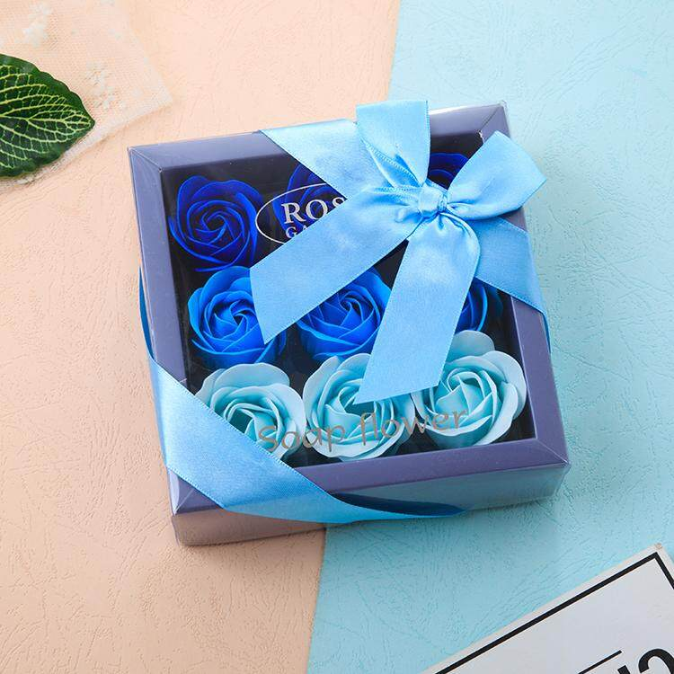 9 pcs Rose Flower Soap Gift Rose Soap Box with Bow Tie and Box Birthday Gift Door Gift Valentine Gift Mother Day Gift