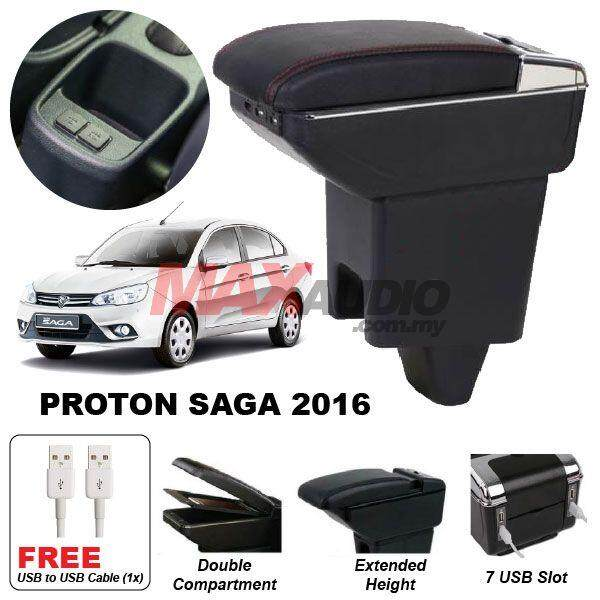 [FREE GIFT] PROTON SAGA 2016 Premium Quality Adjustable Black Leather With Red Stitch Arm Rest with USB Charger Extension & Cup Holder