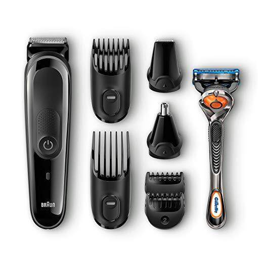 Braun MGK3060 Men's Beard Trimmer for Hair / Head Trimming, Grooming Kit with 4 Combs & Gillette Fusion Razor, 13 Length Settings for Ultimate Precision