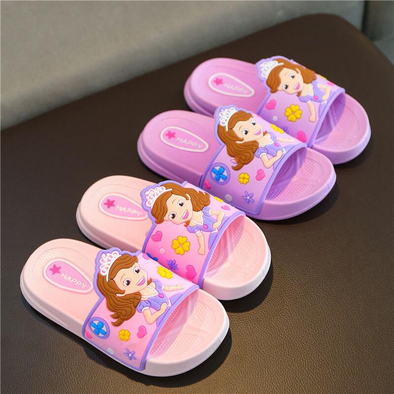 OO รองเท้าแตะเด็ก,รองเท้าชายหาดการ์ตูนพร้อมพื้นรองเท้านิ่มสำหรับเด็กผู้หญิง