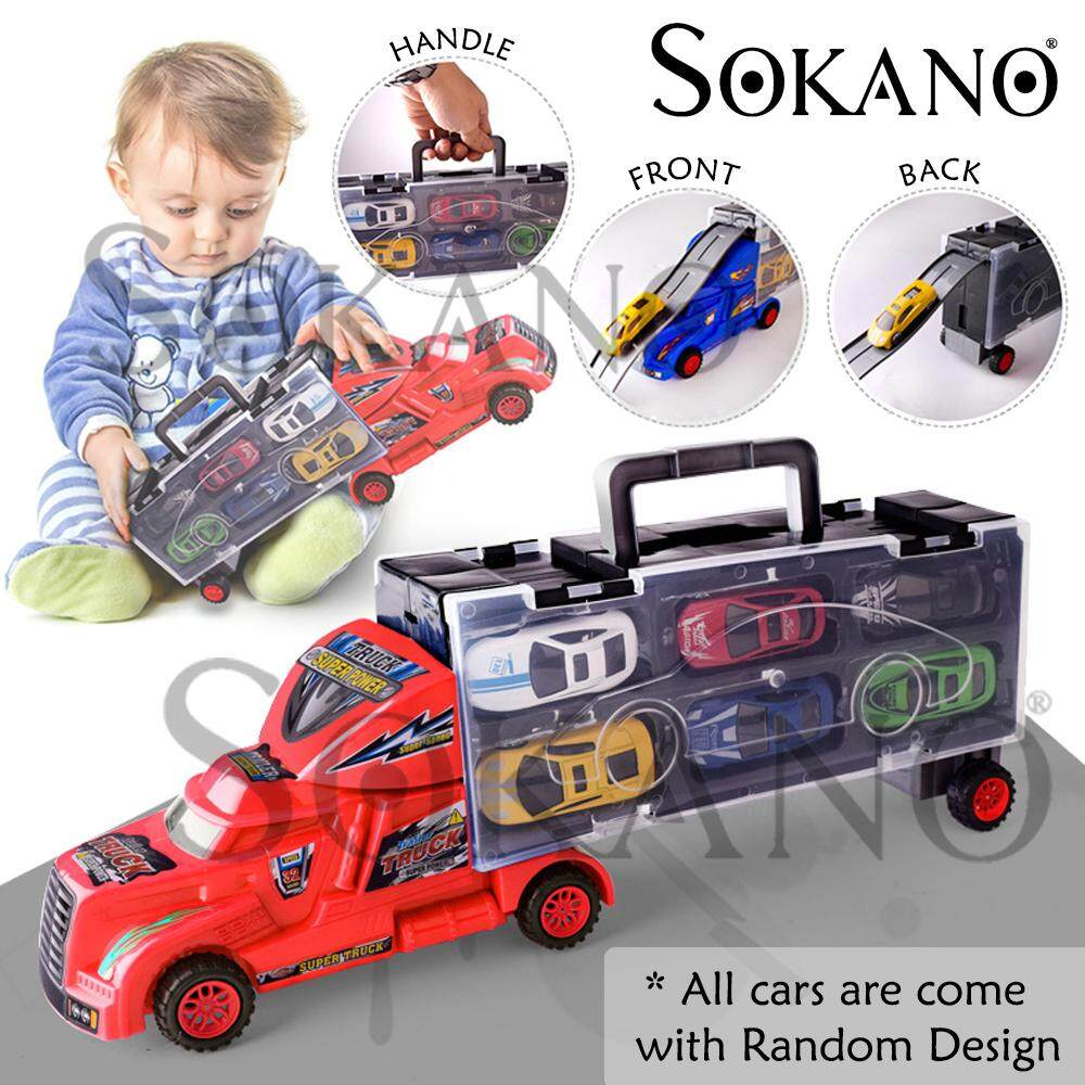 SOKANO TOY 553-6 Container Truck Double Side Window Design Vehicle Toys Car With 6 Alloy Cars Kereta Mainan