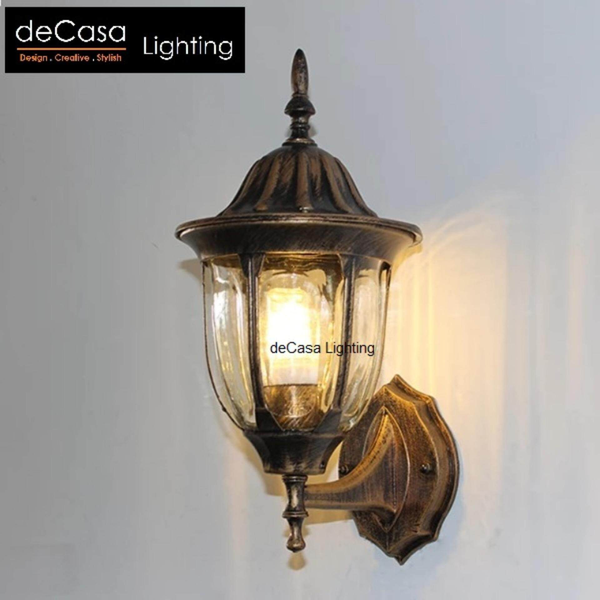 Antique Decasa Exterior Outdoor Wall Light Wall Lamp Glass Weather Proof E27 Gate Outdoor (CM-PT304-W-AB)