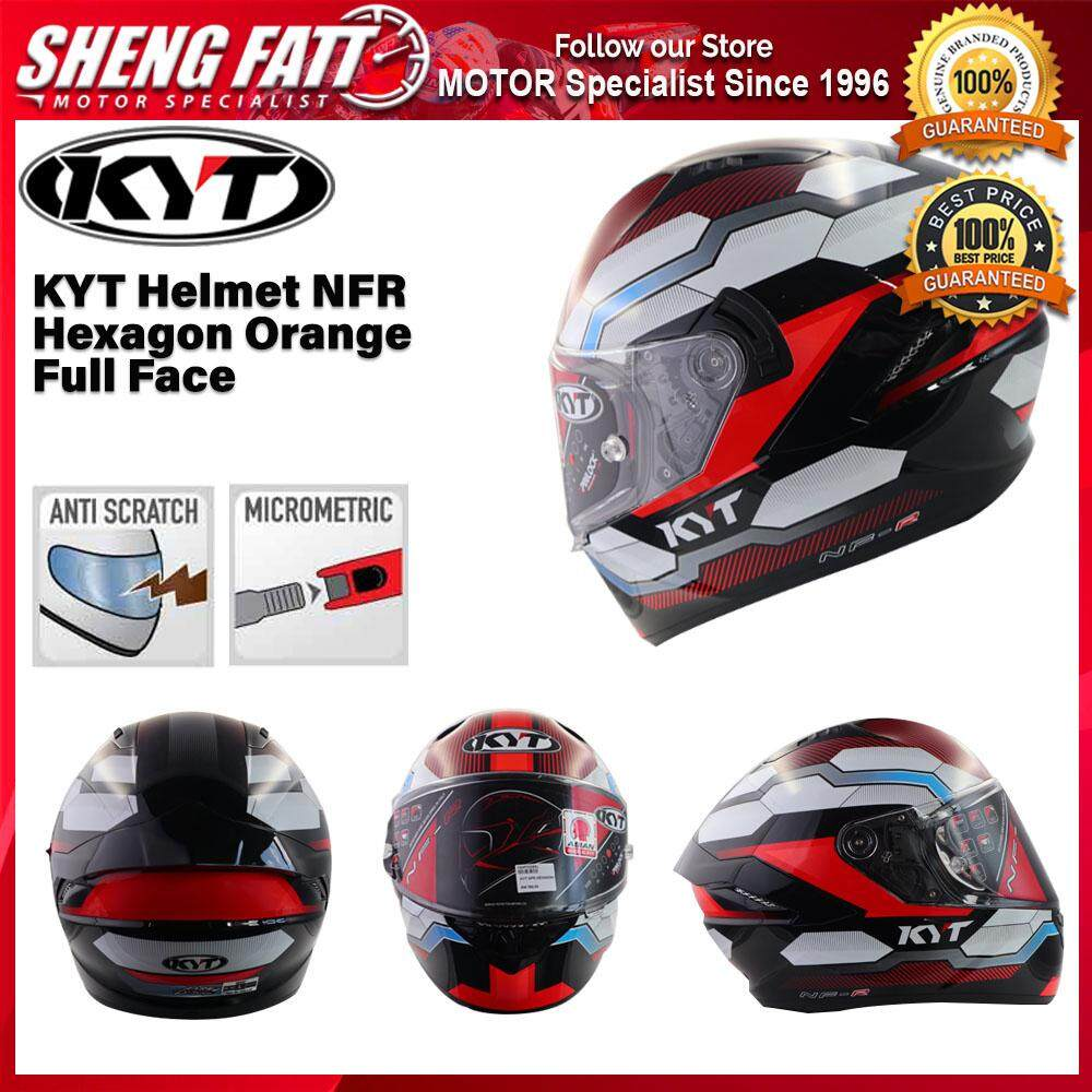 KYT Helmet NFR Hexagon Orange Full Face Motorcycle Helmet [ORIGINAL]