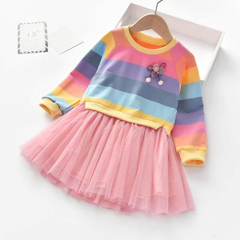 Hình ảnh Bé Đầm Bé Gái Thu Đông Mới Dài Tay Trẻ Em Cầu Vồng Dây Áo Len Nước Ngoài Khí Lưới Cho Bé Váy Công Chúa