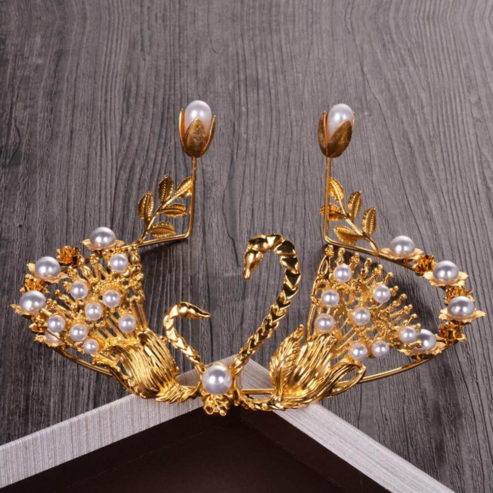 ... Bodhi Elegan Swan Mutiara Imitasi Crown Kue Topper DIY Pengantin Pernikahan Dekorasi Pesta - 4