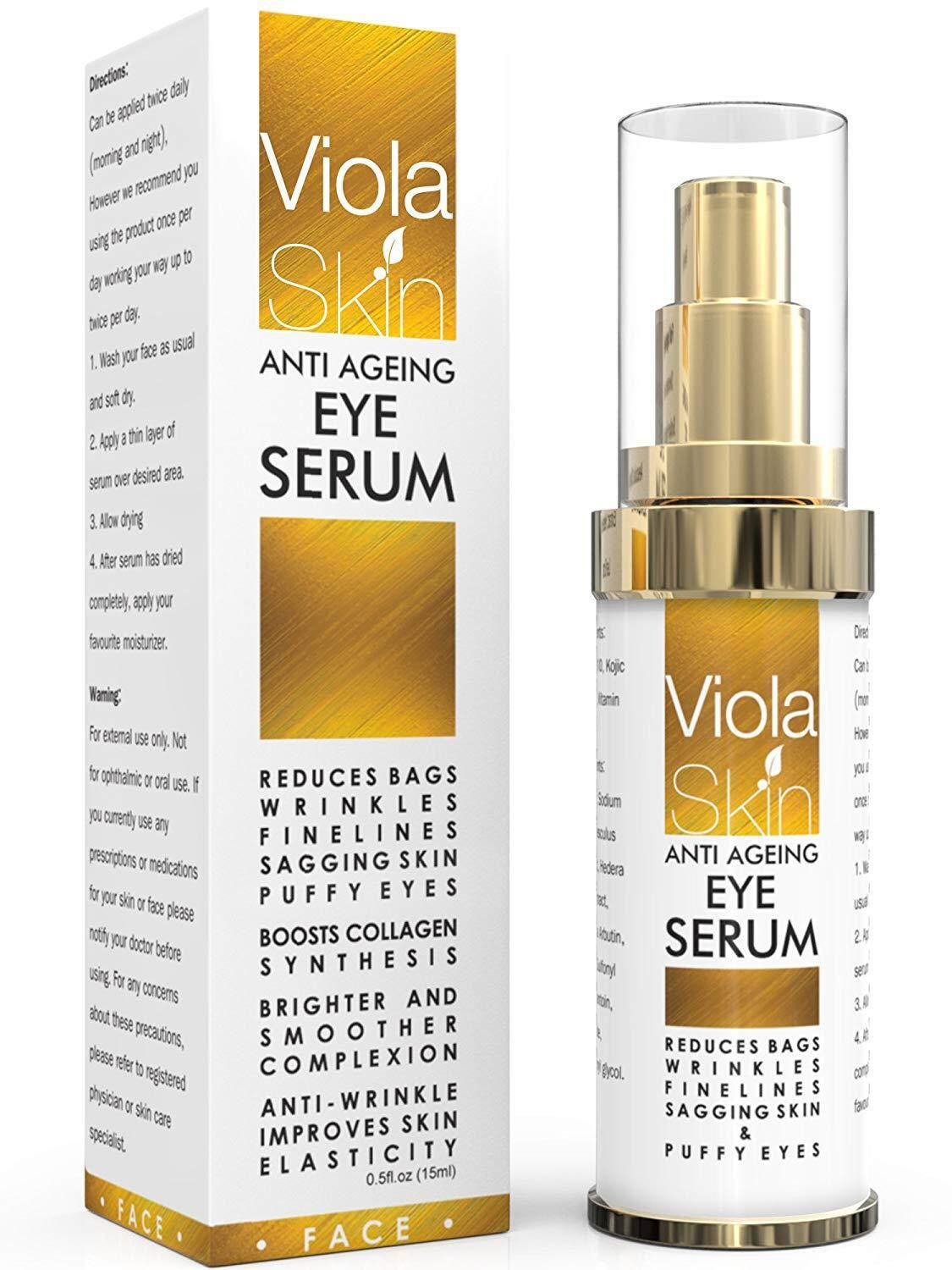 ViolaSkin PREMIUM Anti Ageing Eye Serum for Dark Circles & Puffiness - Anti Wrinkle Eye Serum - Reduces Wrinkles, Bags, Saggy Skin & Puffy Eyes! High Quality Ingredients - Q10 - Matrixyl 3000 - Great Eye Treatment For All Types Of Skin. 100% Satisfaction