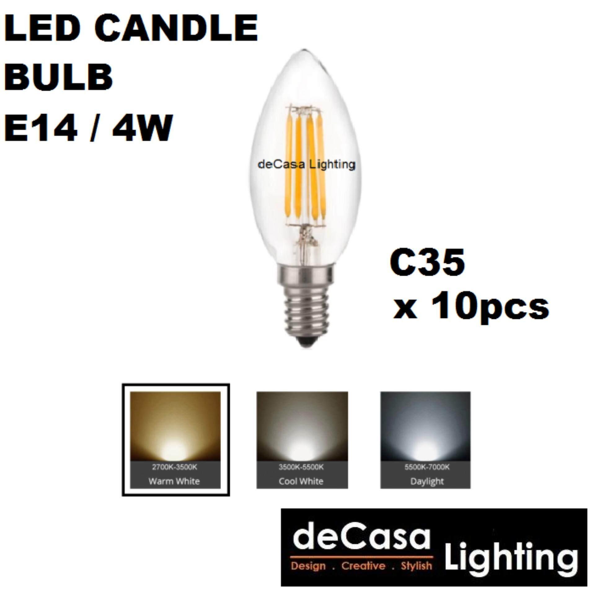 10pcs Led Candle Bulb E14 Lamp Holder Bulb 4w Led Filament Bulb Daylight/Warmwhite (LY-C35-E14-4W)