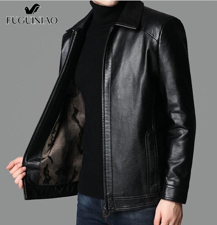 FUGUINIAO Men Casual แจ็คเก็ตหนังแฟชั่นเสื้อโค้ทหนังพียู Pure M-3XL