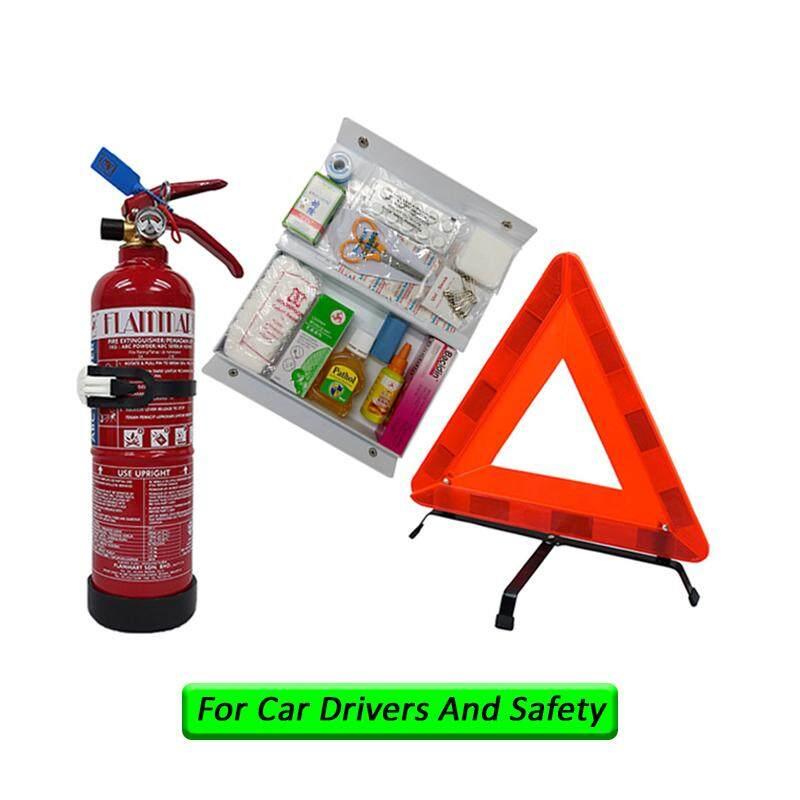LittleThingy 1Kg Fire Extinguisher Flammart ABC Dry Powder Sirim Puspakom Ready Year 2019 & First Aid Kit & Safety Triangle For Vehicle Grab Car Taxi Drivers Pemadam Api Set Untuk Kereta Grab