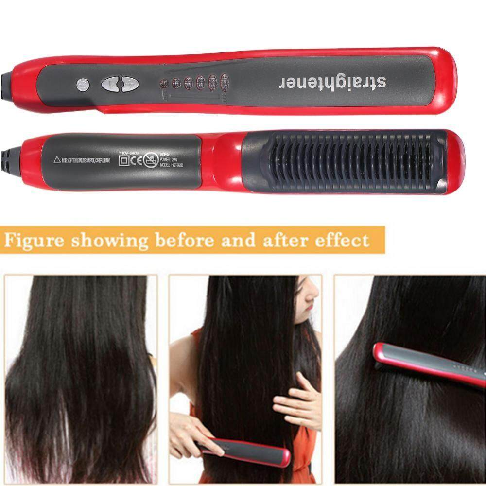 Hair Removal - Electric Ceramic Hair Straightener Straightening Hairdressing Styling Tool - [RED]