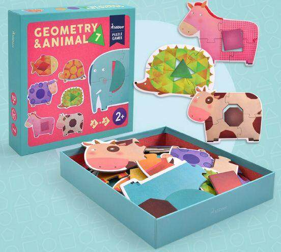 MiDeer Geometry & Animal puzzle set toys education