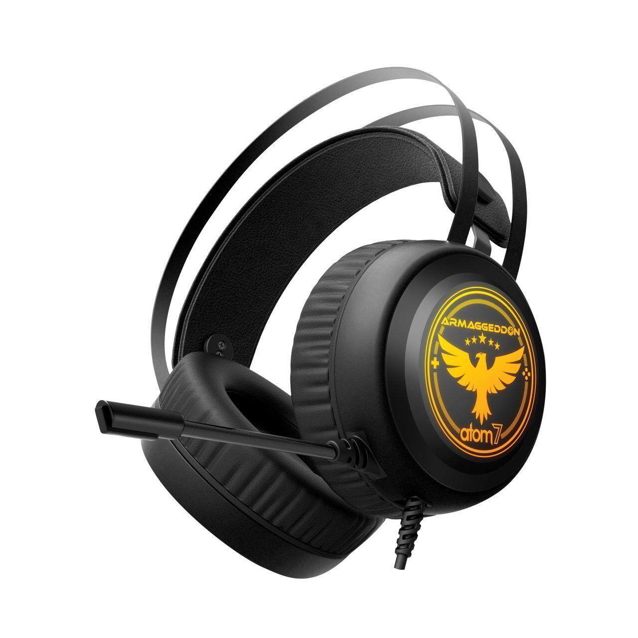 Armaggeddon ATOM 7 2.1 Over Ear Gaming Headset Headphone with Omnidirectional Mic 7 Color Pulsing Effect Wired Cable 2.2m