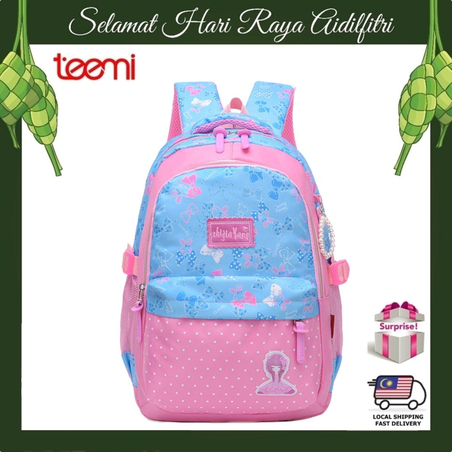 TEEMI Dreamy Candy Color Princess Girls Water Resistant Primary Secondary Nylon Orthopedic School Bag Ribbon Printing Kids Children Laptop Backpack - Light Blue