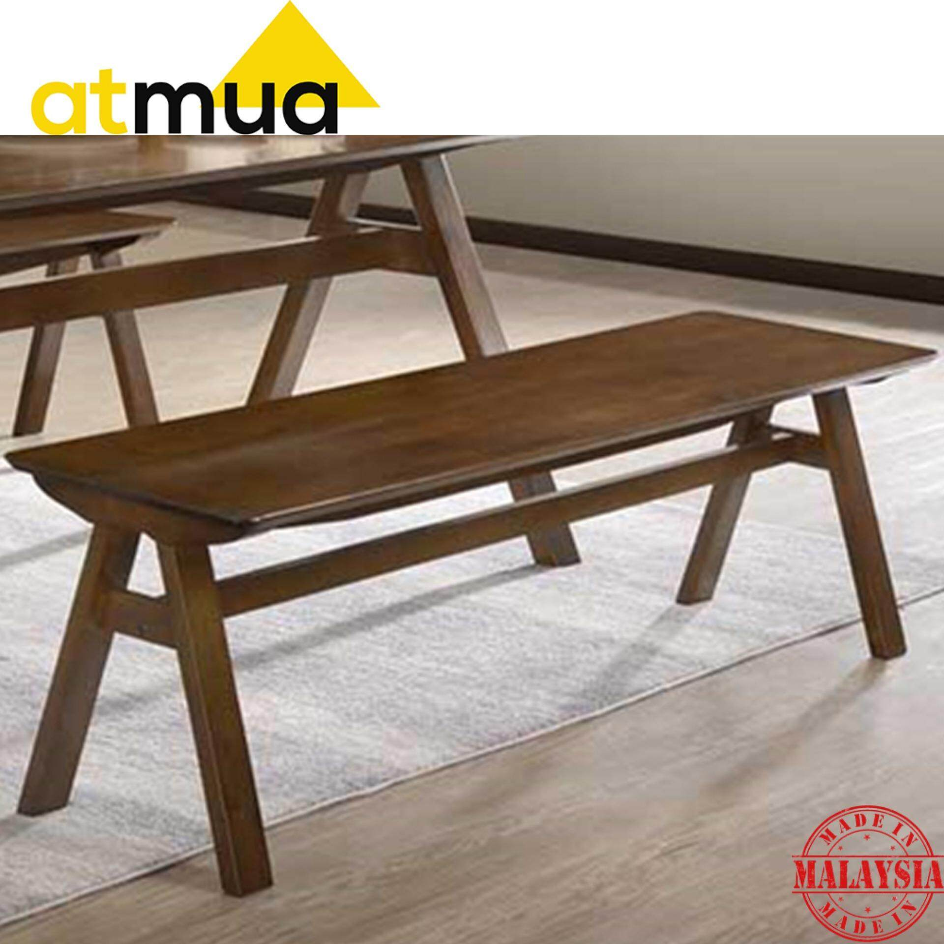 Atmua Vivo Bench Chair 5 Feet [Full Solid Rubber Wood] 3 Seater Extra Strong Outdoor Furniture