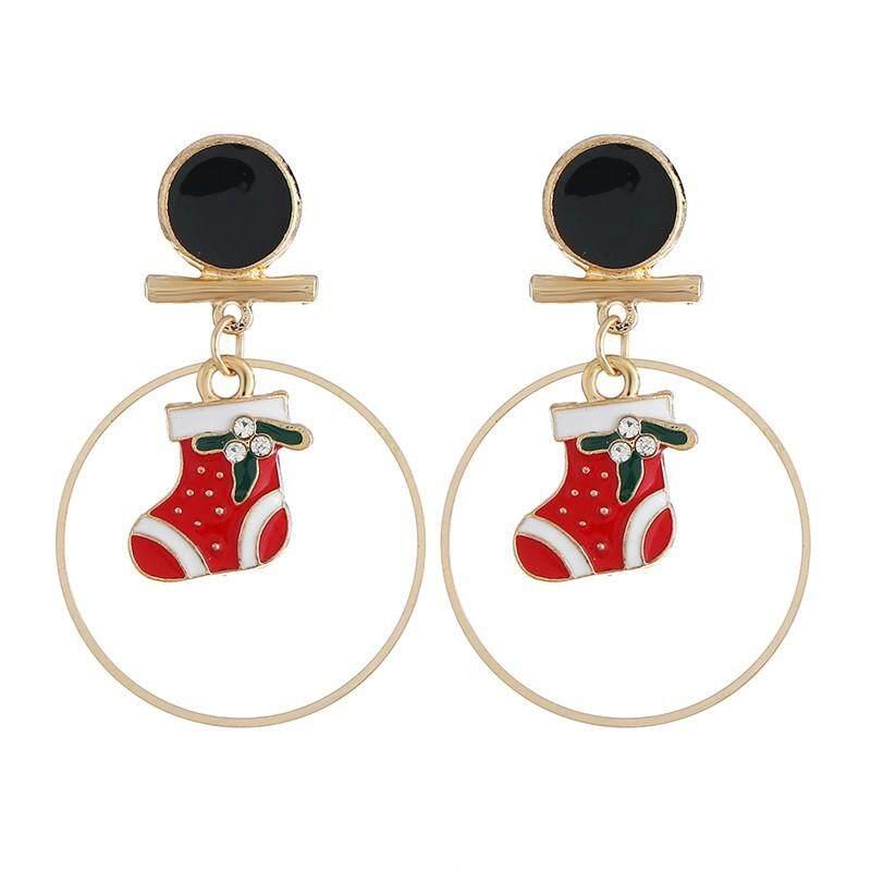 Wanita Natal Kait Anting-anting Gantung Pesona Anting-Anting Perhiasan Pesta Natal
