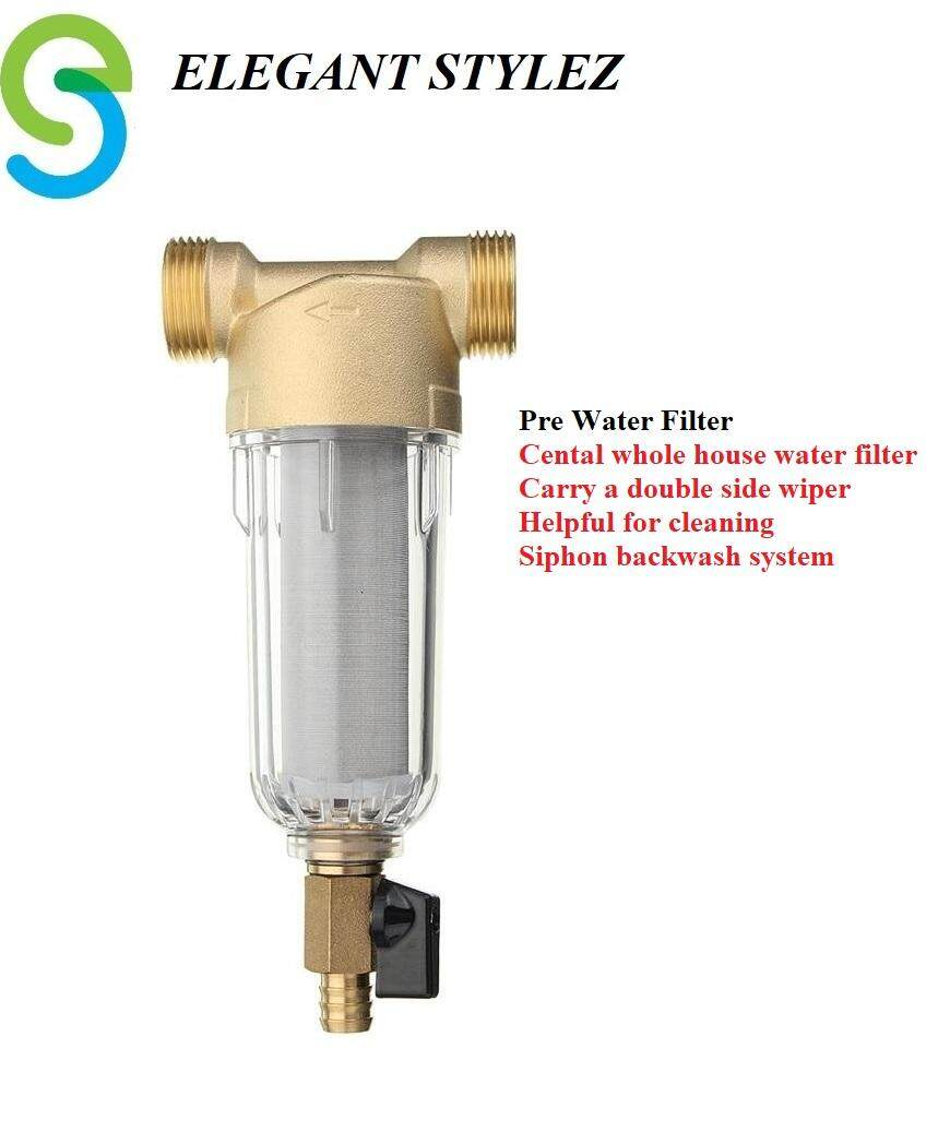 "ELEGANT STYLEZ WATER PRE FILTER OUTDOOR HOUSEHOLD PRE FILTER PURIFIER BRASS SIPHON BACKWASH WATER PURIFIER WASHABLE 1/2"" OR 3/4"" THREAD EL-PF90109"