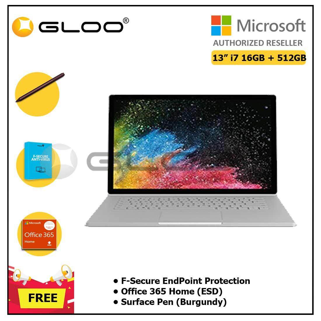 """Microsoft Surface Book 2 13"""" i7/16GB 512GB + F-Secure EndPoint Protection + Office 365 Home ESD + Pen Burgundy"""