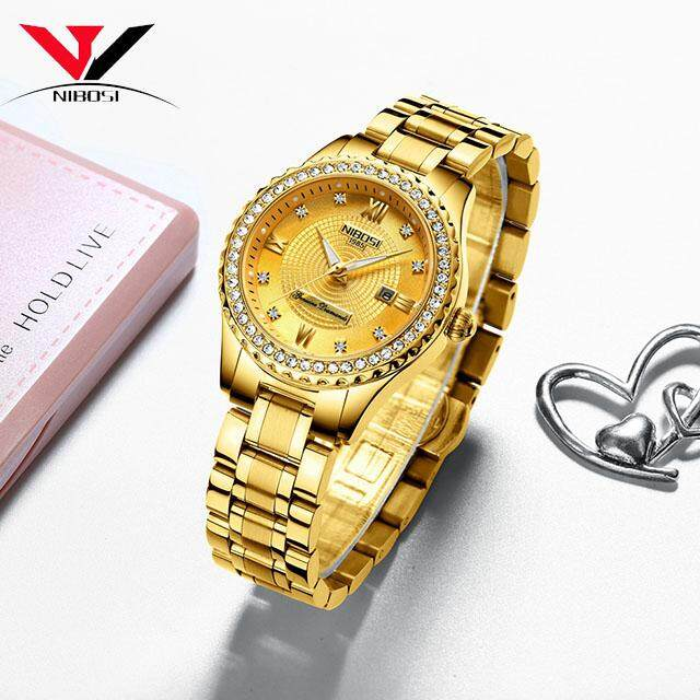 NIBOSI Brand Luxury Women's Watches Relogio Feminino  Stainless Steel Lady Watches With Crystal Quartz Watches 2357