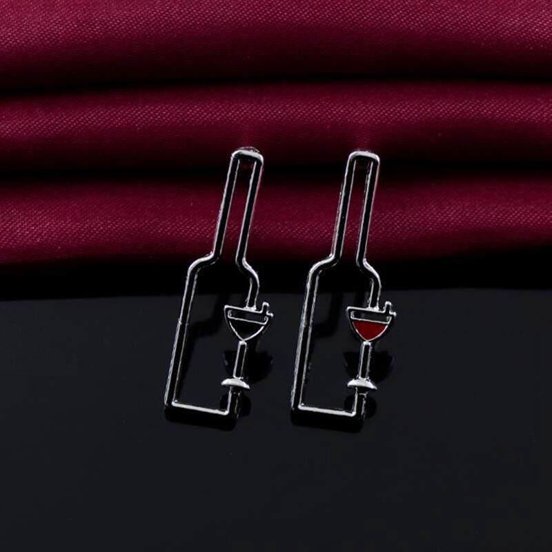 Detail Gambar Fancyqube Baru Sederhana Desain Lucu Logam Botol Anggur Anting Bulat Panjang Anting-anting Menjuntai Perhiasan Fashion untuk Wanita Terbaru