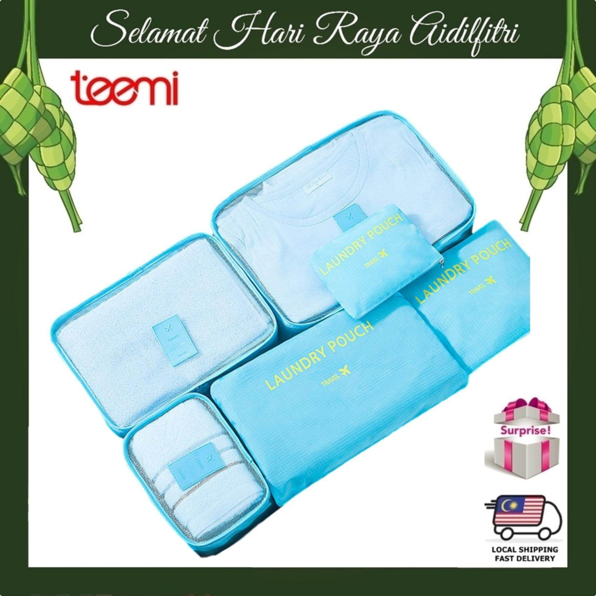 TEEMI Set of 6pcs Travel Organizer 6-in-1 Storage Bag Multi Function Luggage Pouch Water Resistant