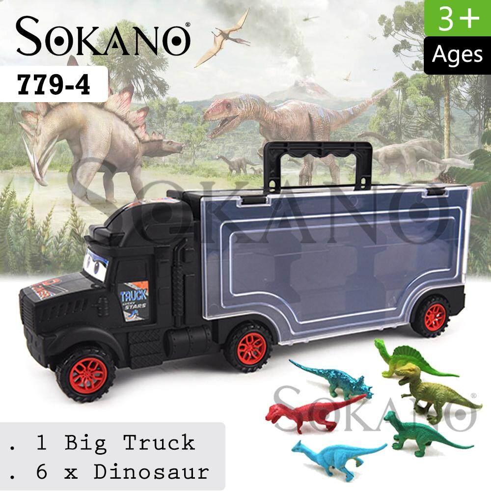 SOKANO TOY 779-4 Container DIY Truck Storage Vehicle Toys Car With 6 Dinosaur Model Kereta Mainan