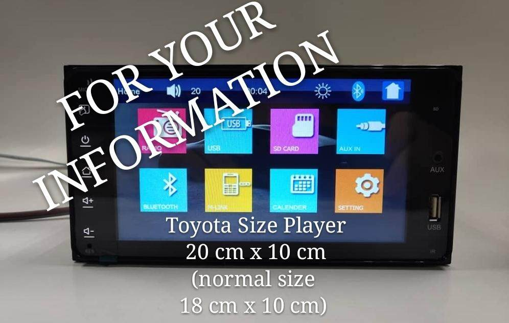 "Toyota Size Car MP5 Usb Bluetooth Radio Aux Player 7"" Touch Screen Monitor 60 watts x 4 - Dimension ( 20 cm x 10 cm) NO DVD"