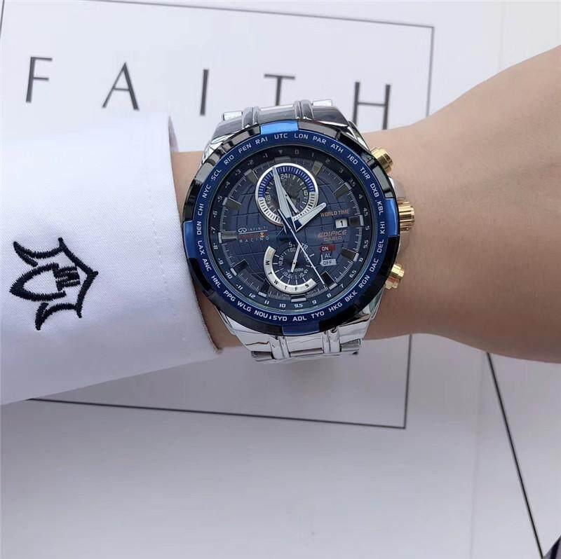 ยี่ห้อนี้ดีไหม  กาญจนบุรี (ใหม่) คุณภาพสูง CASIO_G-SHOCK_Mens นาฬิกาดิจิตอลสำหรับเล่นกีฬากลางแจ้งนาฬิกากีฬาคู่นาฬิกาสำหรับผู้ชายกันน้ำและกันกระแทกจอแสดงผลแอลอีดี World Dual Time สแตนเลสสายคล้อง