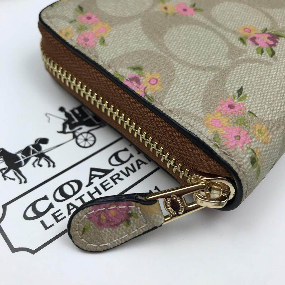 Coach F39156 Signature Coated Canvas Accordion Zip Wallet WIth Floral Print