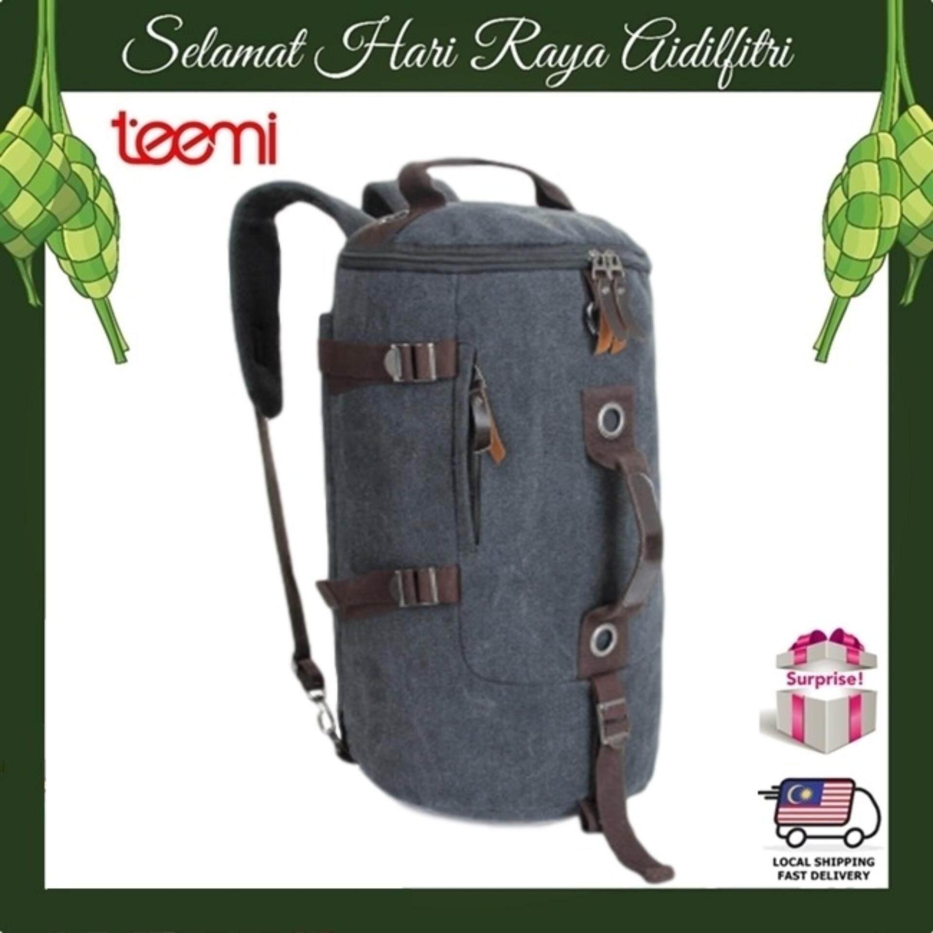 TEEMI Duffel Bag Convertible Hiking Backpack Multipurpose 3 in 1 Travel Luggage Duffle Canvas Day Pack - Black