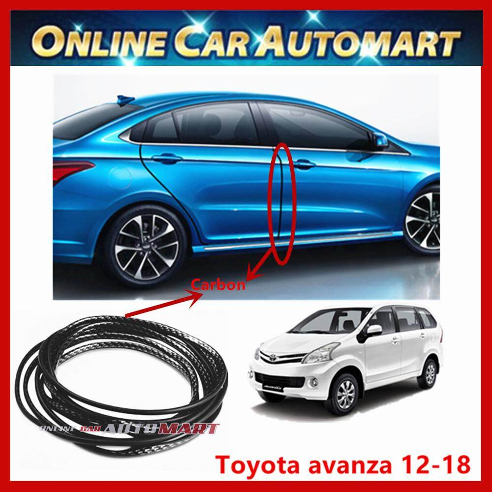 Toyota Avanza 12-18 16FT/5M (Carbon) Moulding Trim Rubber Strip Auto Door Scratch Protector Car Styling Invisible Decorative Tape (4 Doors)