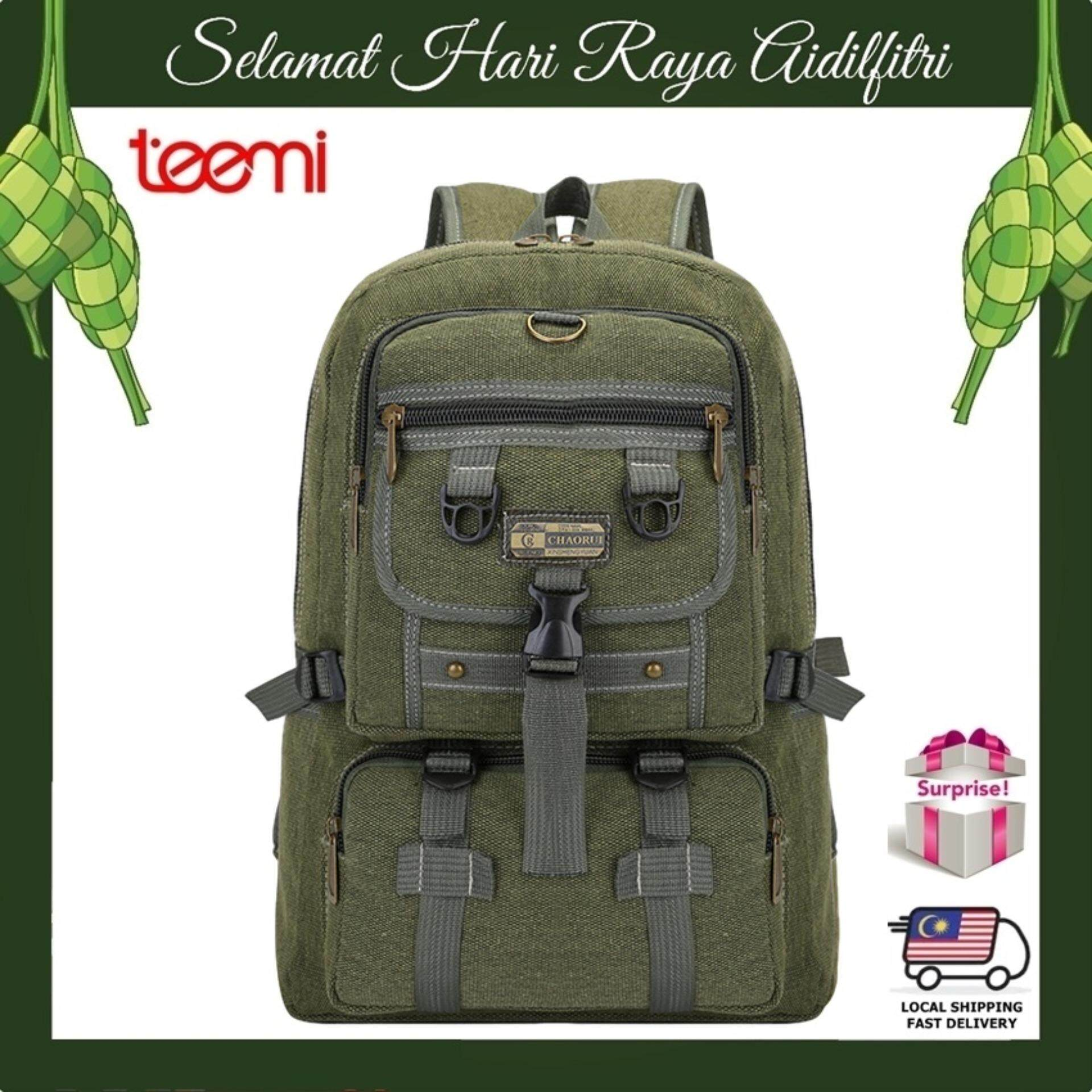 TEEMI Canvas Backpack Rucksack Outdoor Outing Camping Rugged Travel Bag - Navy Green