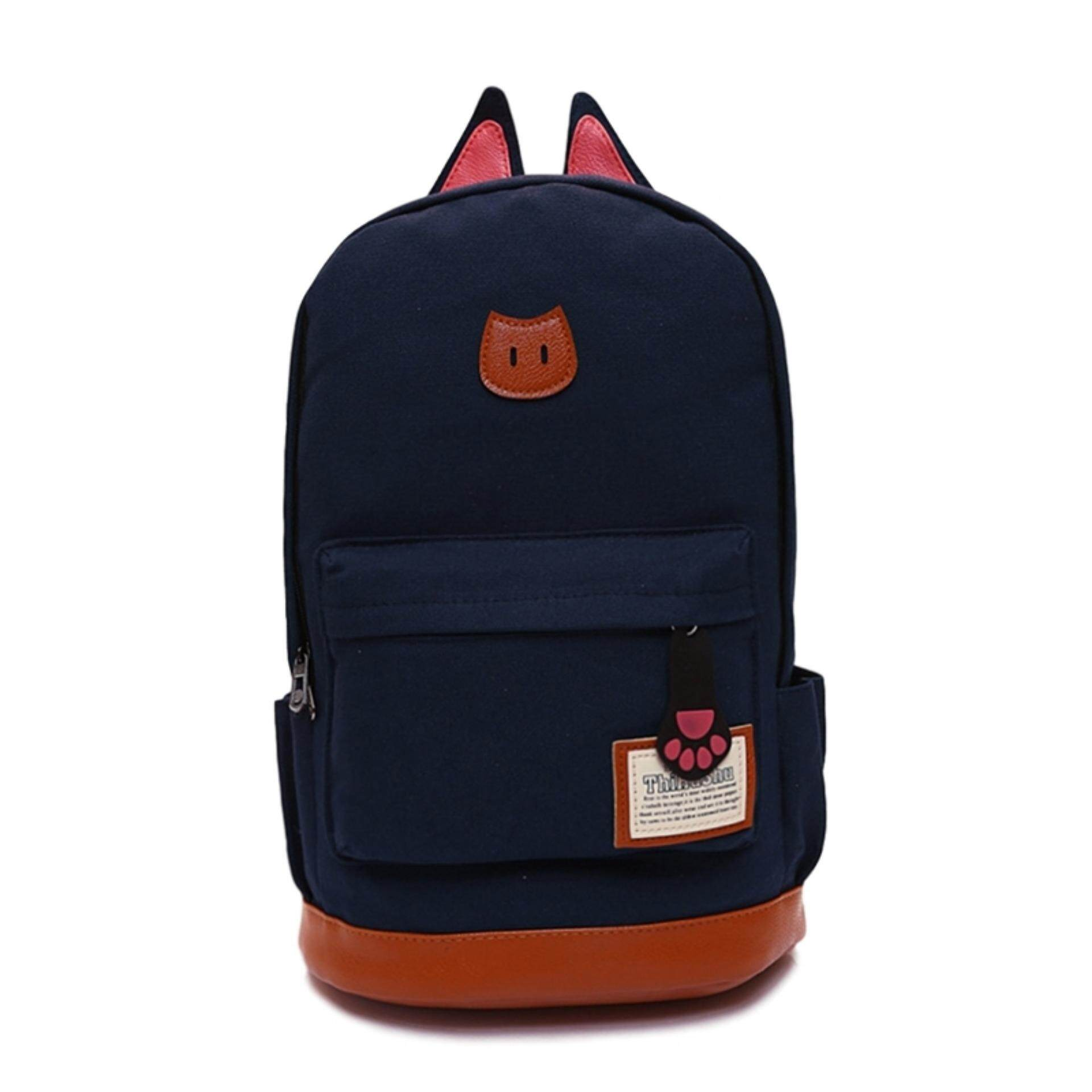 TEEMI Korean Kitten Cat Ear Canvas Backpack Casual Travel Laptop School Bag Leather Lash Tab - Dark Blue