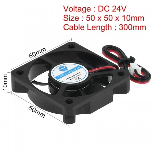 3D Printer Brushless Cooling Fan 50 * 50 * 10mm 24V DC with Ball Bearing 2Pin Connector