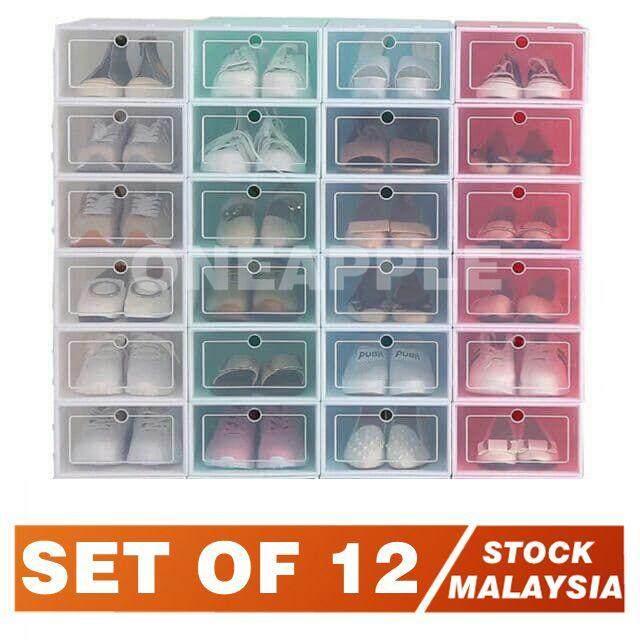 12 PCS Transparent plastic shoe box men and women shoes storage box