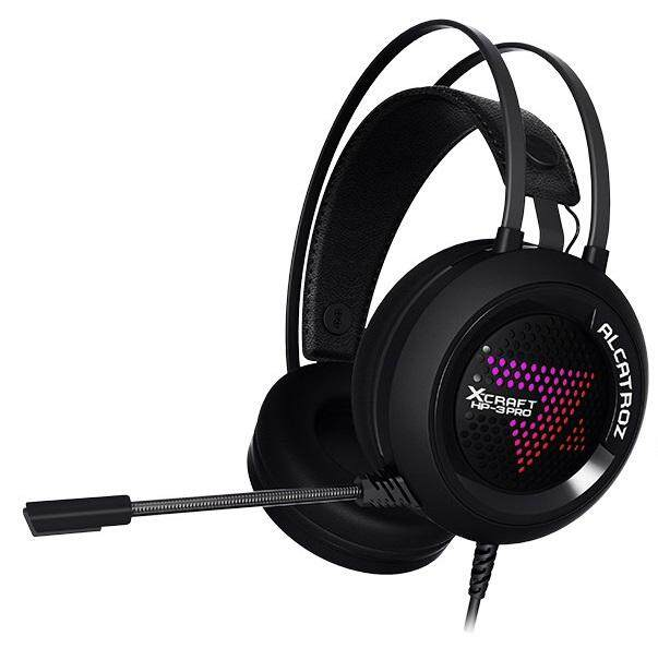 Alcatroz X-Craft HP-3 Pro Over Ear Gaming Headphones 50mm Driver 7.1 Surround Sound Omni Directional Mic with Multicolor FX