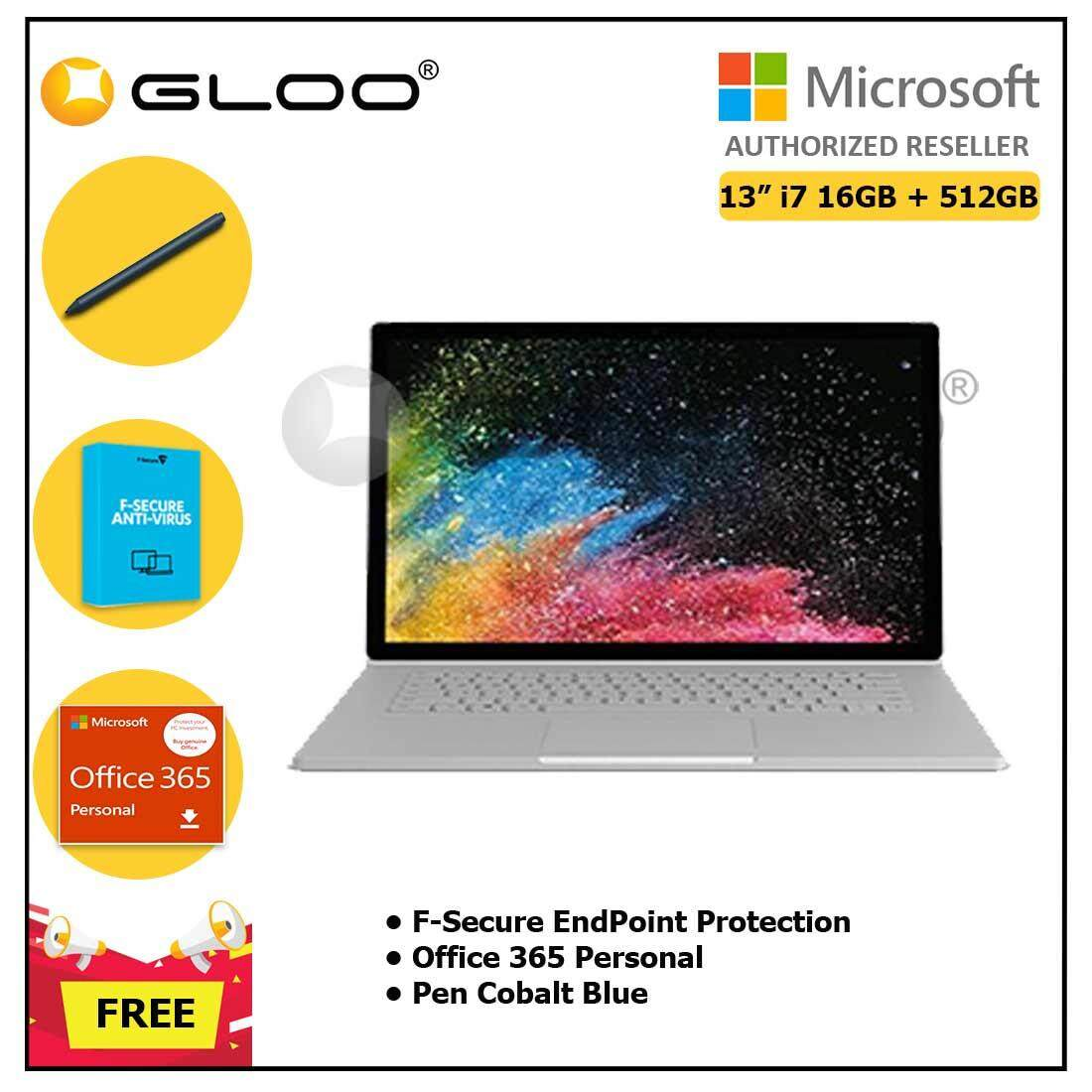 """Surface Book 2 13"""" Core i7/16GB RAM - 512GB [FREE F-Secure End Point Protection + Off 365 Personal + Microsoft Surface Pen Cobalt Blue]"""