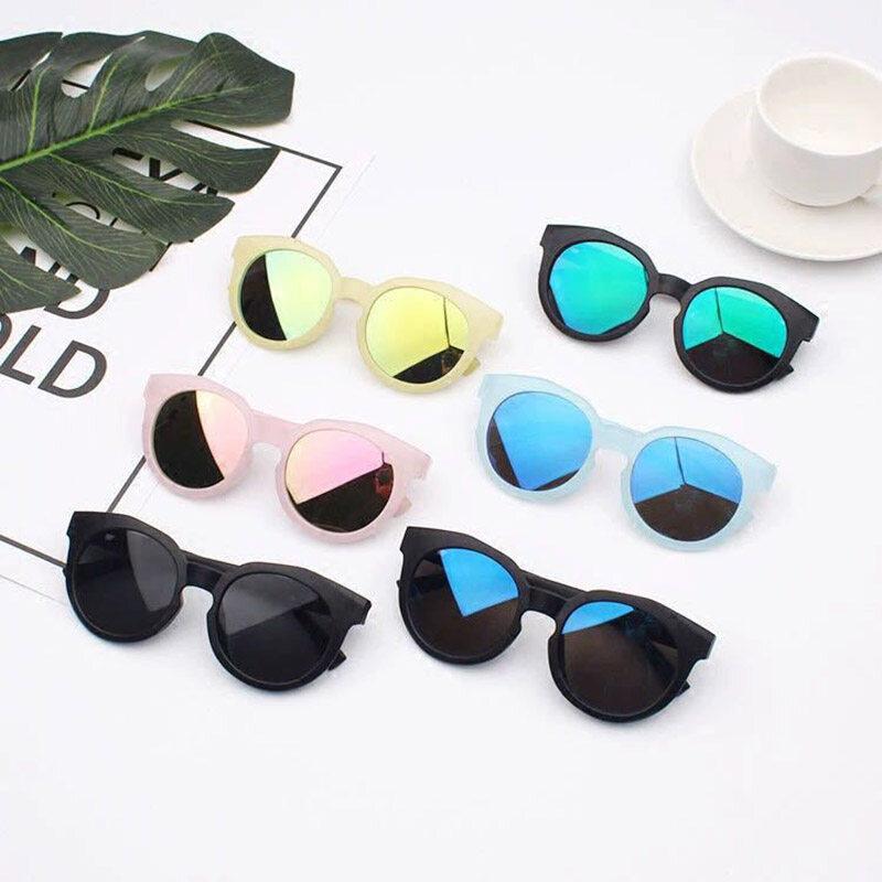 แฟชั่นย้อนยุครอบเด็กแว่นกันแดดที่มีสีสันกระจกสะท้อนแสงเด็กอาทิตย์แว่นตาป้องกันรังสียูวีเฉดสีแว่นตา