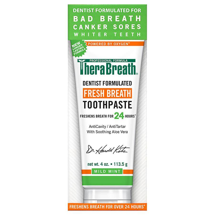 TheraBreath Dentist Recommended Fresh Breath Dry Mouth Toothpaste, Mild Mint, 4 Ounce