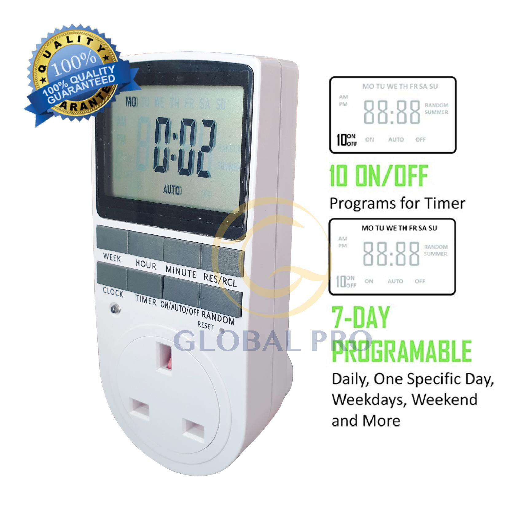 Buy GlobalPro 7-Day Programmable Digital Timer,15A/1800W 24-Hour Digital  Timer Socket With LCD Display 3-prong Outlet For Lights And Electrical