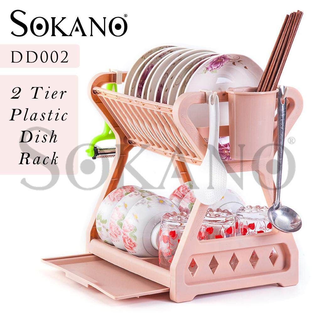 SOKANO DD002 Multipurpose 2 Tier Layer Premium Plastic Dish Rack Dish Drainer Kitchen Storage Organizer