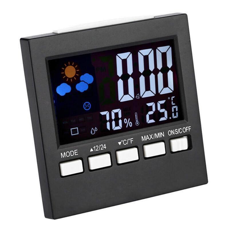 ... Digital Termometer LCD Higrometer Pengukur Kelembapan Ruangan Kamar Jam Suhu - 4